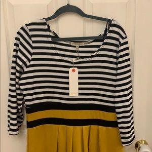 ModCloth 1x black/white/mustard dress. NWT.